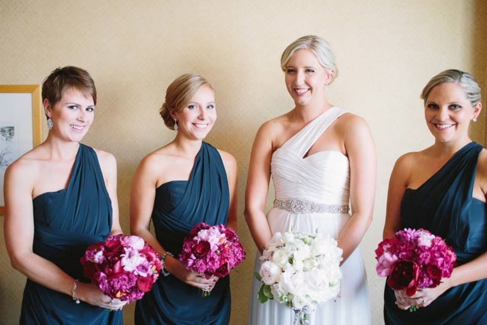 The Bridal party and their bouquets