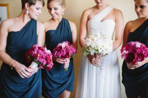 The bridal party and their bouquets.