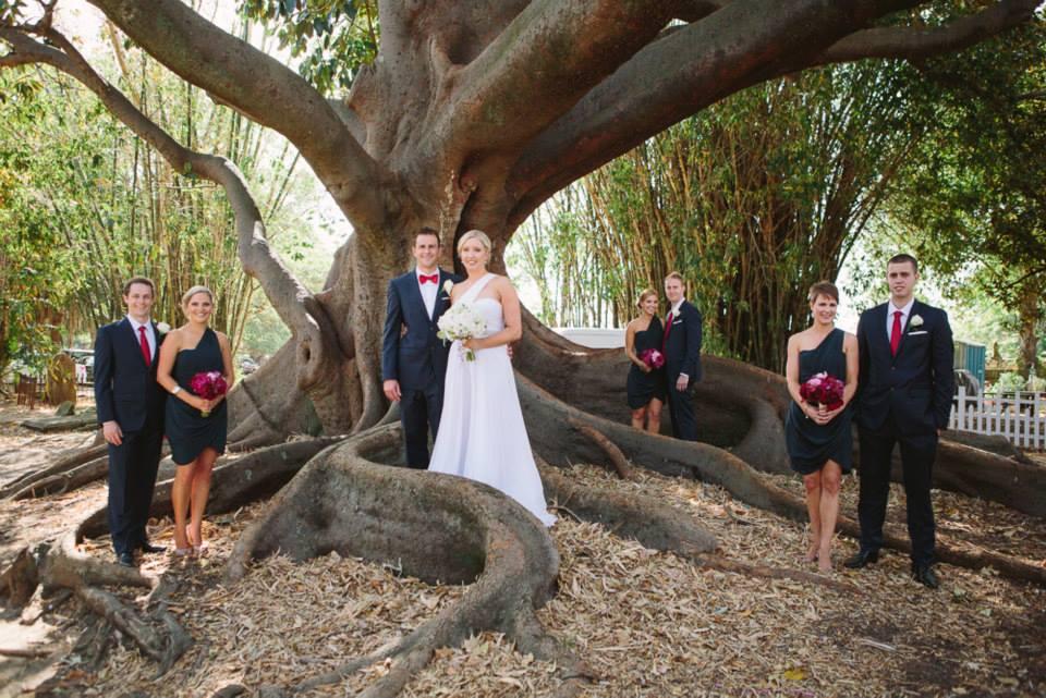 The Bride, Groom, Bridesmaids and Groomsmen.