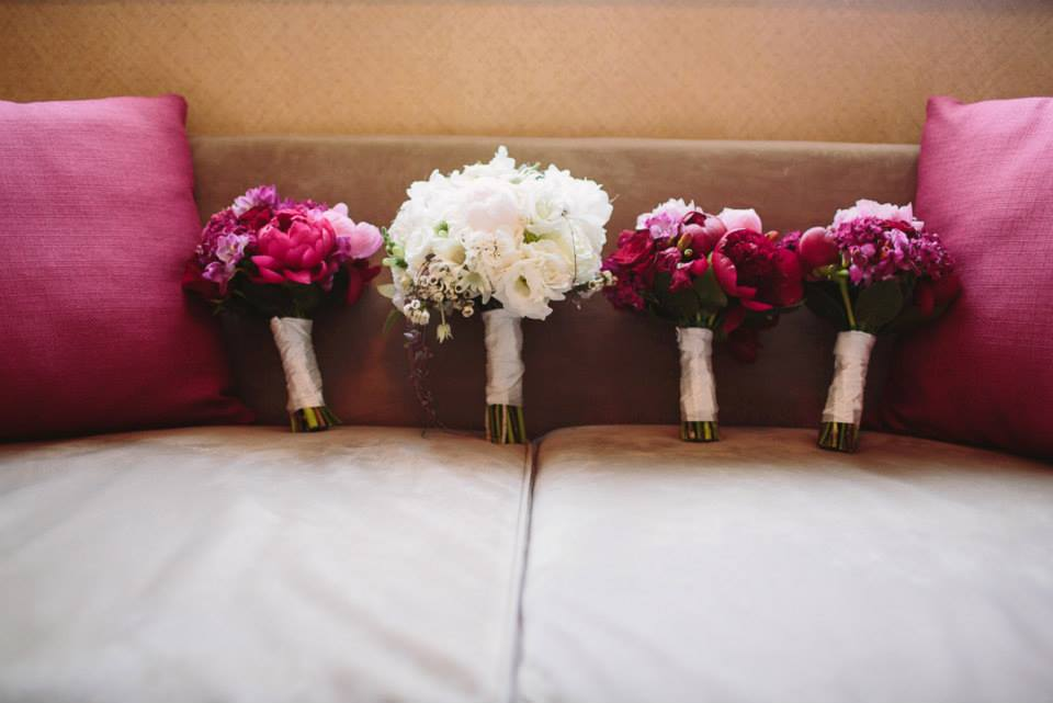 Rachel's Bridal Party Bouquets on couch