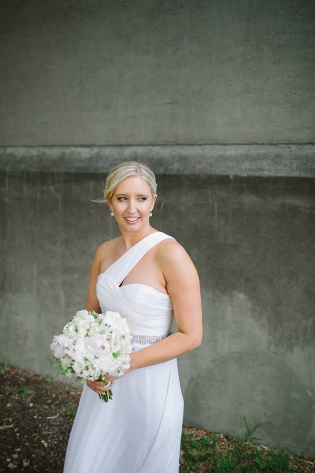 The bride carrying her wedding bouquet