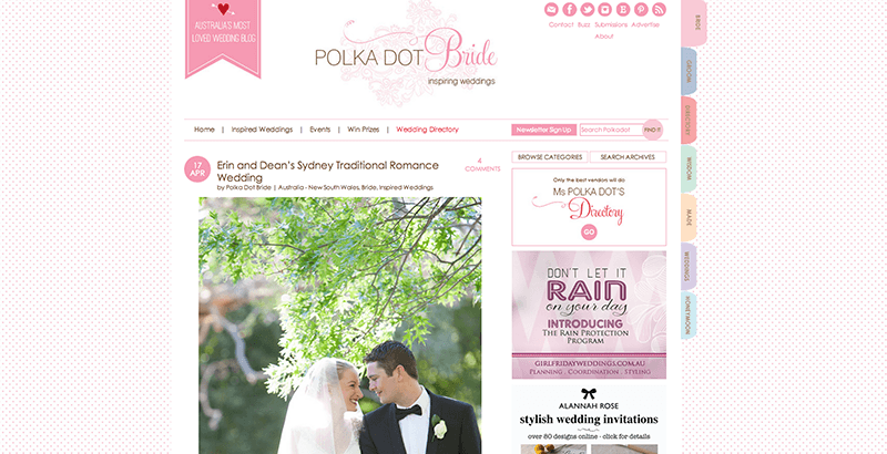 Erin and Dean's Polka Dot Bride Article Screen Capture