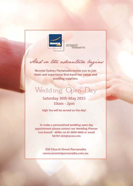 Novotel Sydney Parramatta Wedding Open Day Flyer